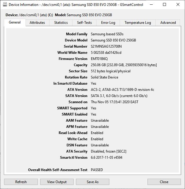 GSmartControl Disk Information