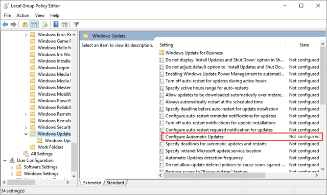 Group Policy Configure Automatic Updates