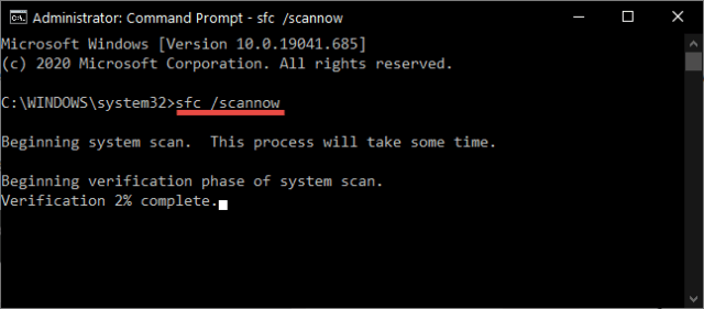 Command Prompt SFC Scanning
