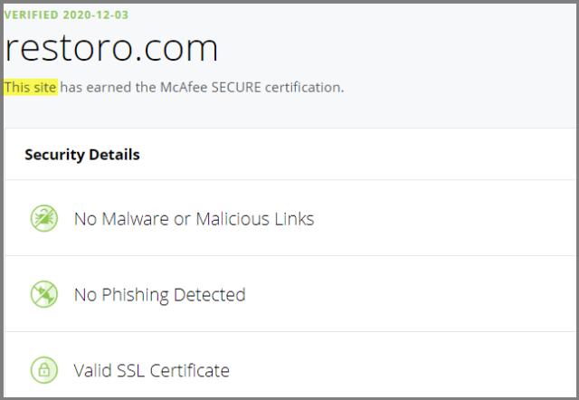 Restoro McAfee Site Certification