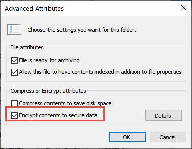 Advanced Attributes Encrypt Contents