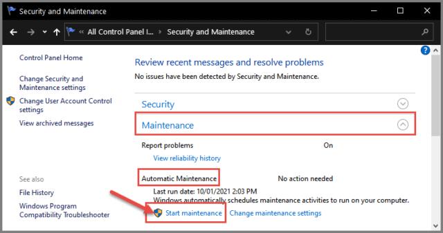 Automatic Maintenance Start Maintenance