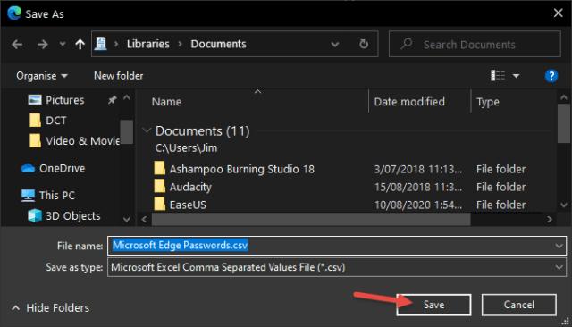 Edge Save Passwords