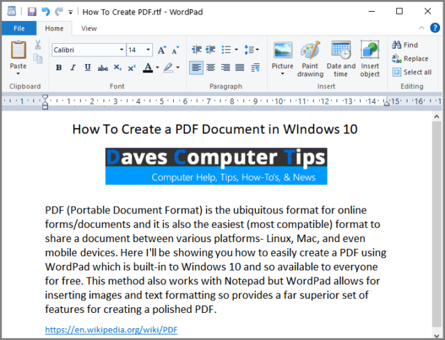 Example WordPad Document
