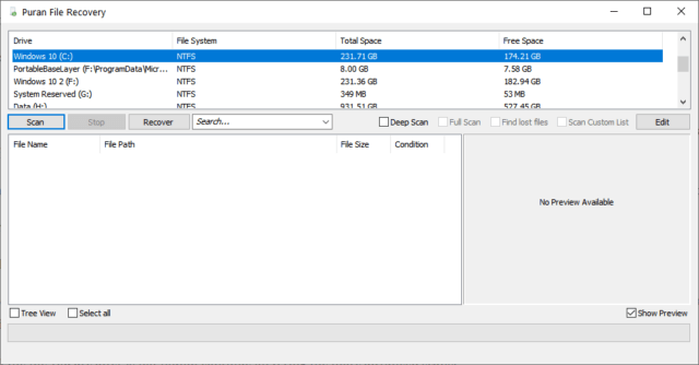 Puran File Recovery Interface
