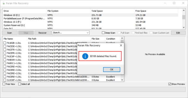 Puran File Recovery Scan Results