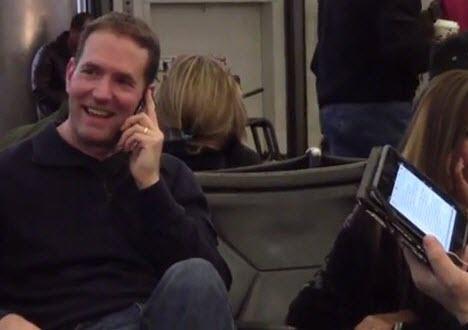 loud public smartphone conversation