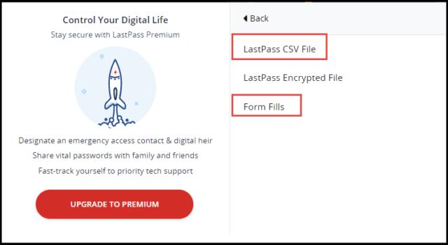 LastPass Export CSV File