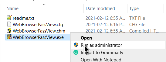 webbrowserpassview-right-click-run-as-administrator
