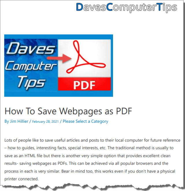 Webpage to PDF Example