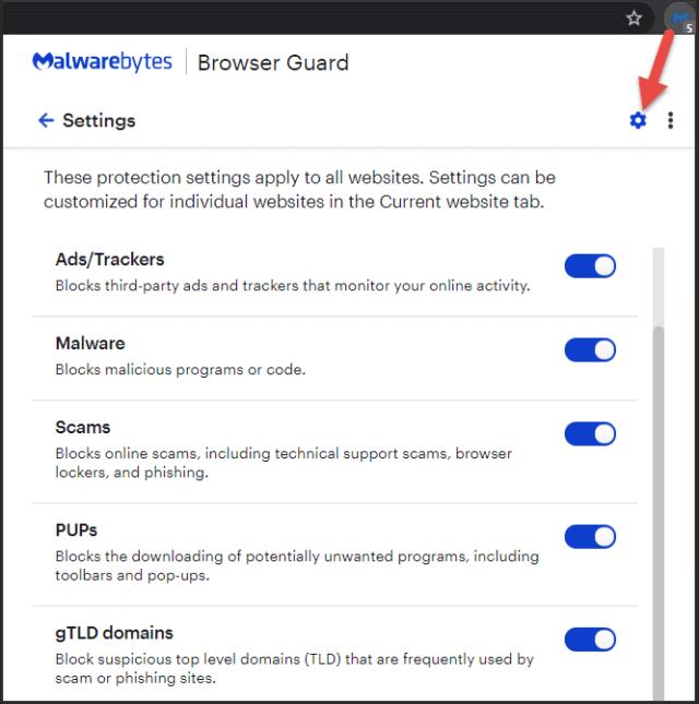 Malwarebytes Browser Guard Settings