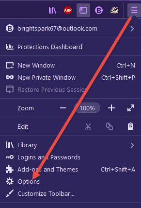 Firefox Menu Options