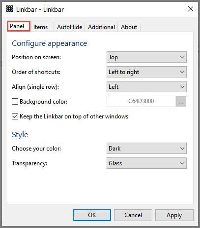 Linkbar Panel Options