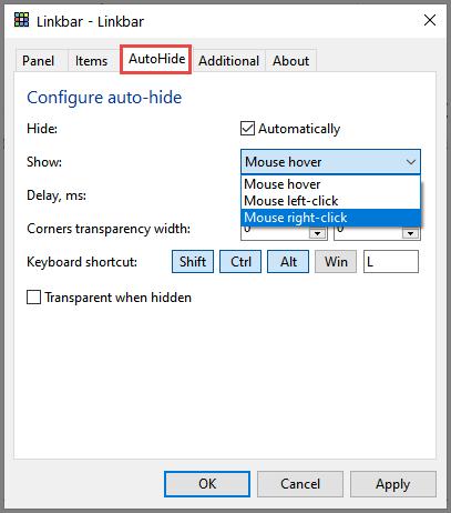 Linkbar Auto-hide Options