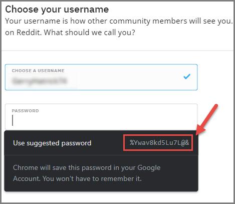 Chrome Generating Password