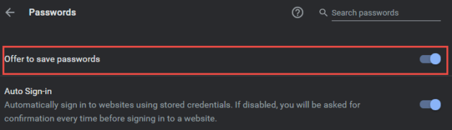Chrome Offer to save passwords setting