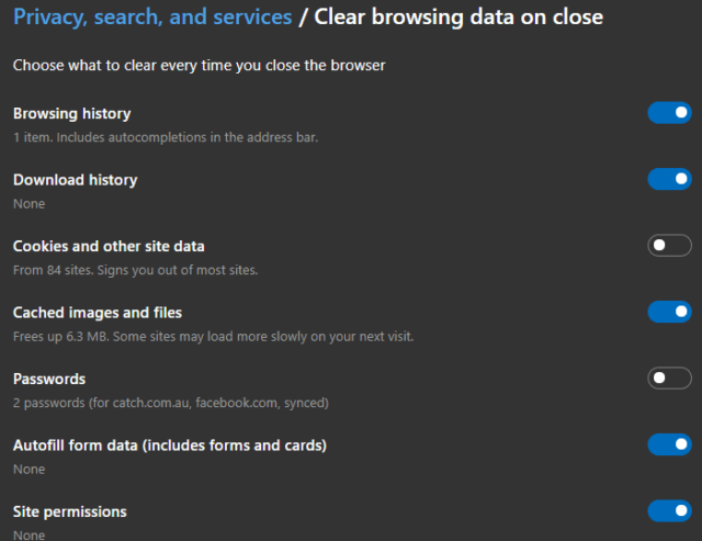 Edge Choose What Data to Clear