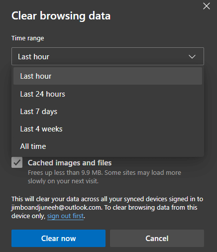 Edge Clear Browsing Data Now