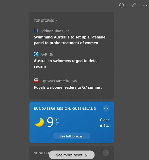 Weather Widget Full Panel