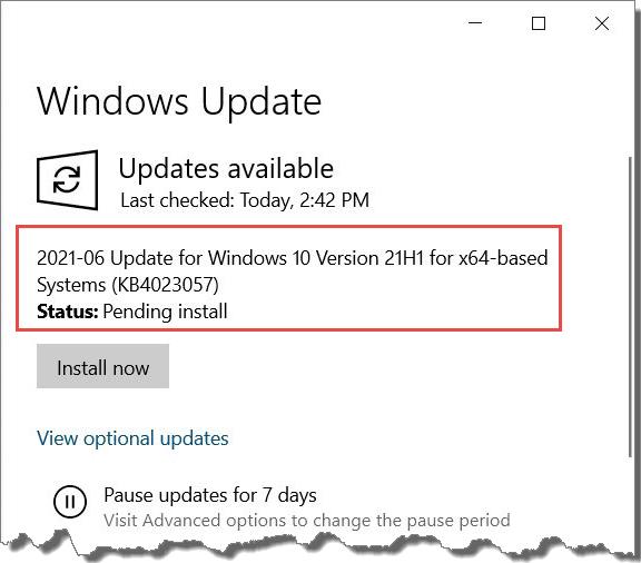 Windows Update KB4023057