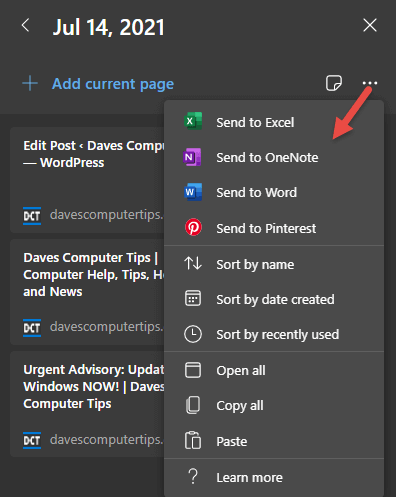 Edge Collections Options Menu