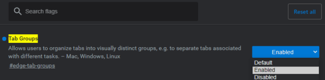 Edge Enable Tab Groups