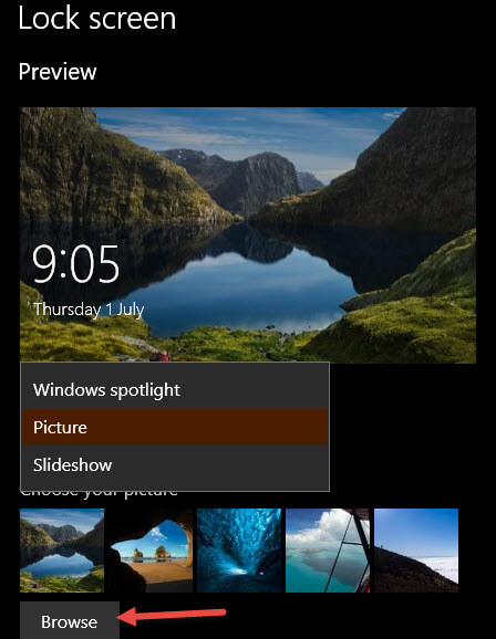 Lock screen picture options