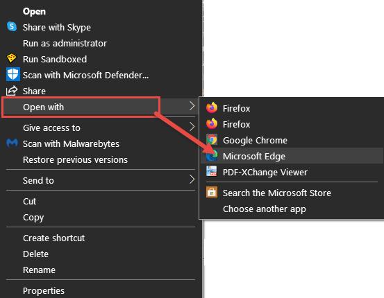Open PDF with Edge