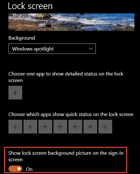 Sign-in Screen Option