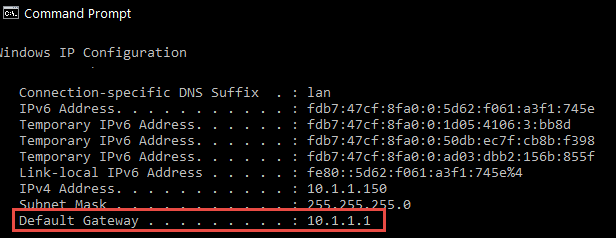 ipconfig command results