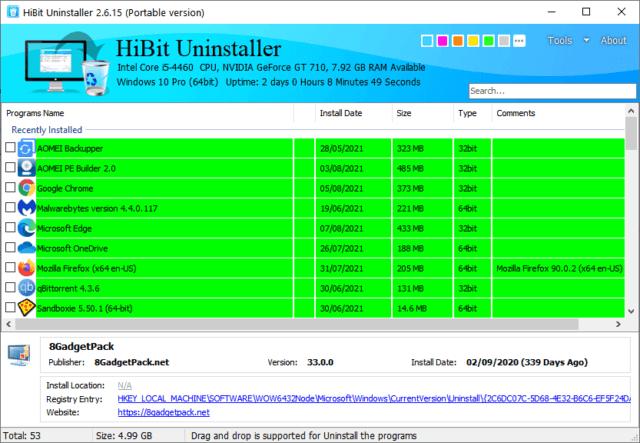 Hibit Uninstaller Main Interface