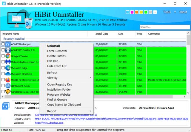 Hibit Uninstaller Right Click Menu