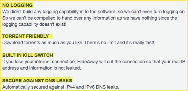 Hideaway VPN Features