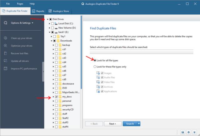 choose drives-folders-type