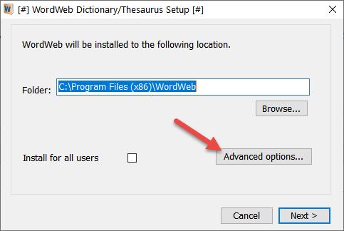 WordWeb Installer Advanced Options