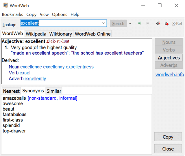 WordWeb Interface