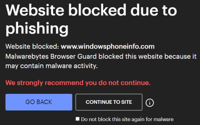 Malwarebytes Browser Guard Warning Message