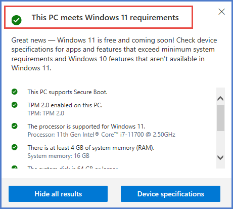 PC Requirements Check Results