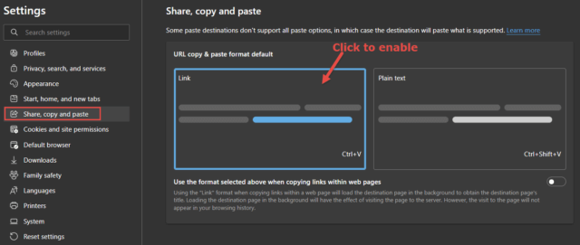 URL Copy and Paste Options